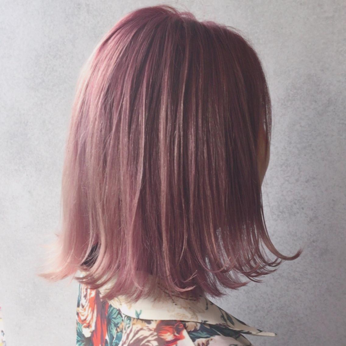 ボブ カラー ピンクアッシュ