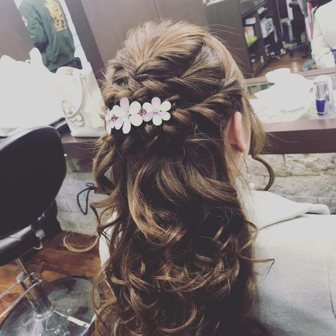 結婚式 ヘアセット ハーフアップ セミロング