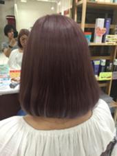カラー セミロング ミディアム ピンクパールボブ