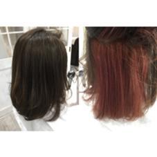 グレージュカラー&インナーカラー ベースは6トーンのグレージュでインナーがピンクです♪ デザインカラーの方にオススメです♪ allys  hair aoyama所属・やないつきのスタイル