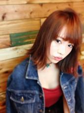 レッドオレンジ★切りっぱなしbob★でこなれ女子スタイル(o^^o)  バイトやお仕事であまり派手カラーができない方も、茶色味があるレッドオレンジカラーなら、オシャレカラーも楽しめますょ♪ kenje所属・kazuco♡のスタイル