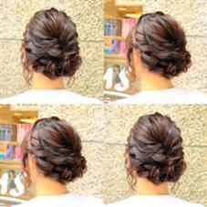 エレガントな編み込みアップスタイル✨ Hair design Aeolus所属・親泊功平のスタイル