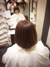 ボブスタイル。 まとまりやすく、ハンドブローで内巻きに! カラーはピンクで艶色☆ ex-fa  hair garden所属・澤田彩香のスタイル
