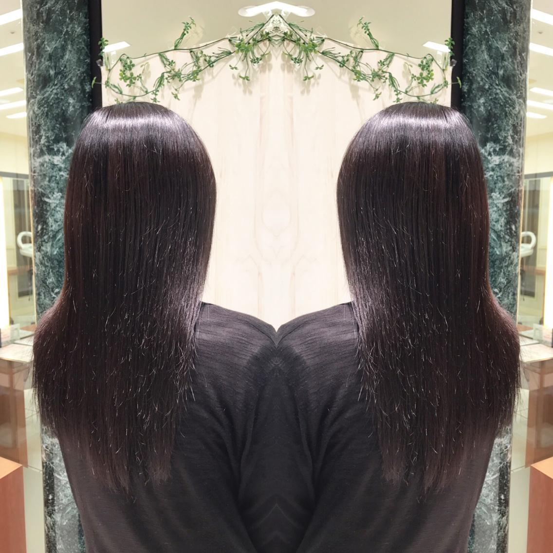 #セミロング #パーマ 夏のダメージもプレミアム縮毛矯正でサラツヤな髪へ💇✨
