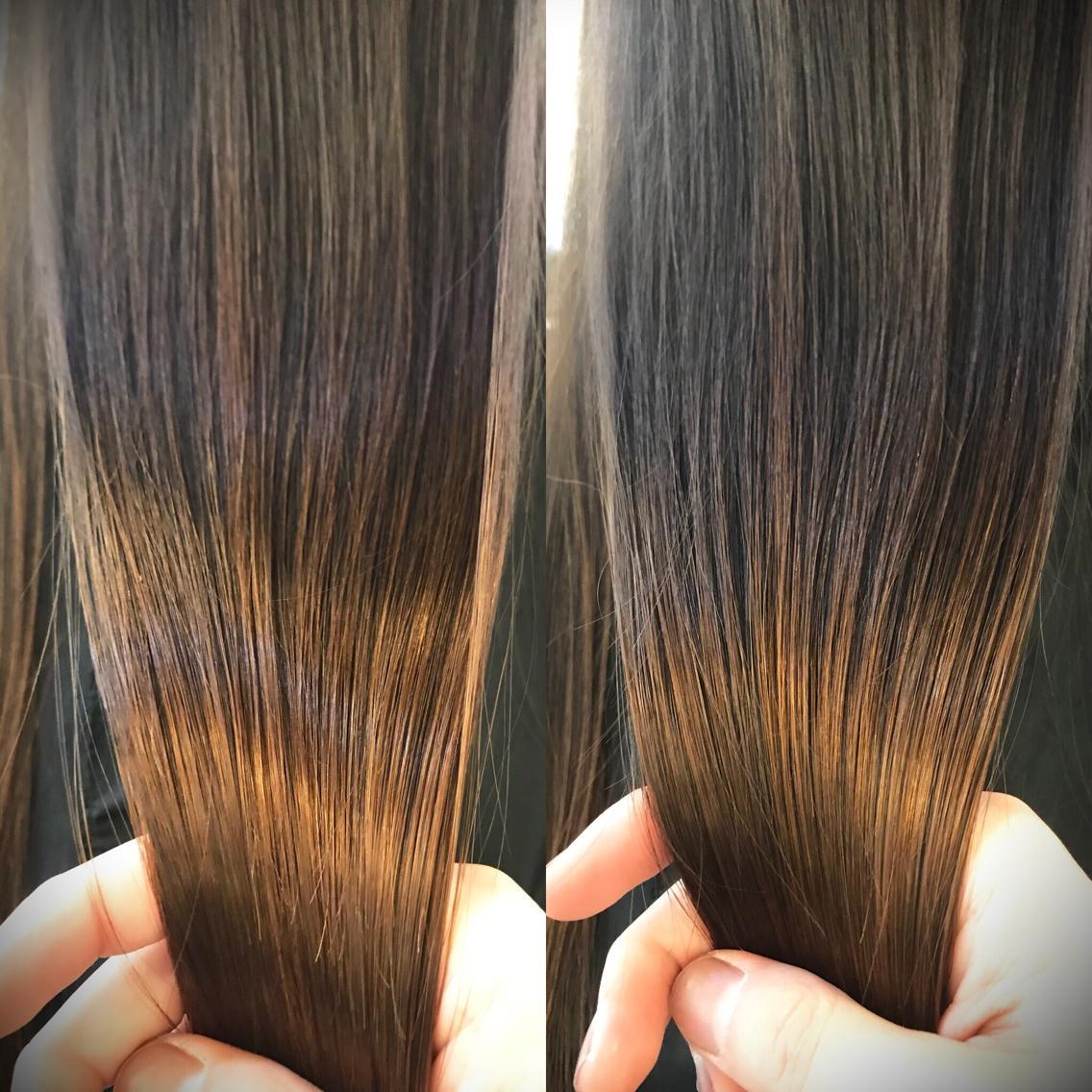 #ロング ラメラメトリートメント+メンテナンスカット✨ かなりダメージ、引っ掛かりが気になる髪でも 指通りの良いツヤツヤで綺麗な髪に仕上げます(^O^) 写真はドライのみでアイロンはしていません❗️