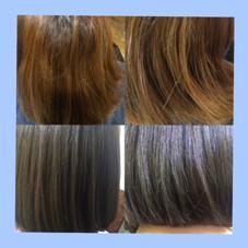 ビフォーアフター。トーンダウンはブルーアッシュが透明感がでてカワイイです♡ イメチェン&オシャレ感がでるカラーです。 Pina大久保所属・いわさとかほのスタイル