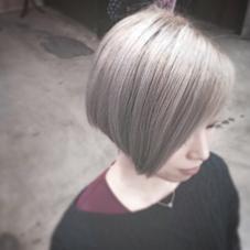 ホワイティカラー×ショートボブ 《ブリーチが2回以上必要なカラーです》 CHERIE hair design所属・キムラユウタのスタイル