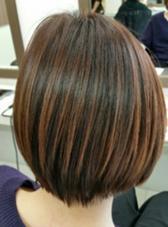 大人っぽい前下がりボブ☆ オレンジ系のカラーでツヤ感アップ♪ hair make DISPLAY所属・山中誠一朗のスタイル