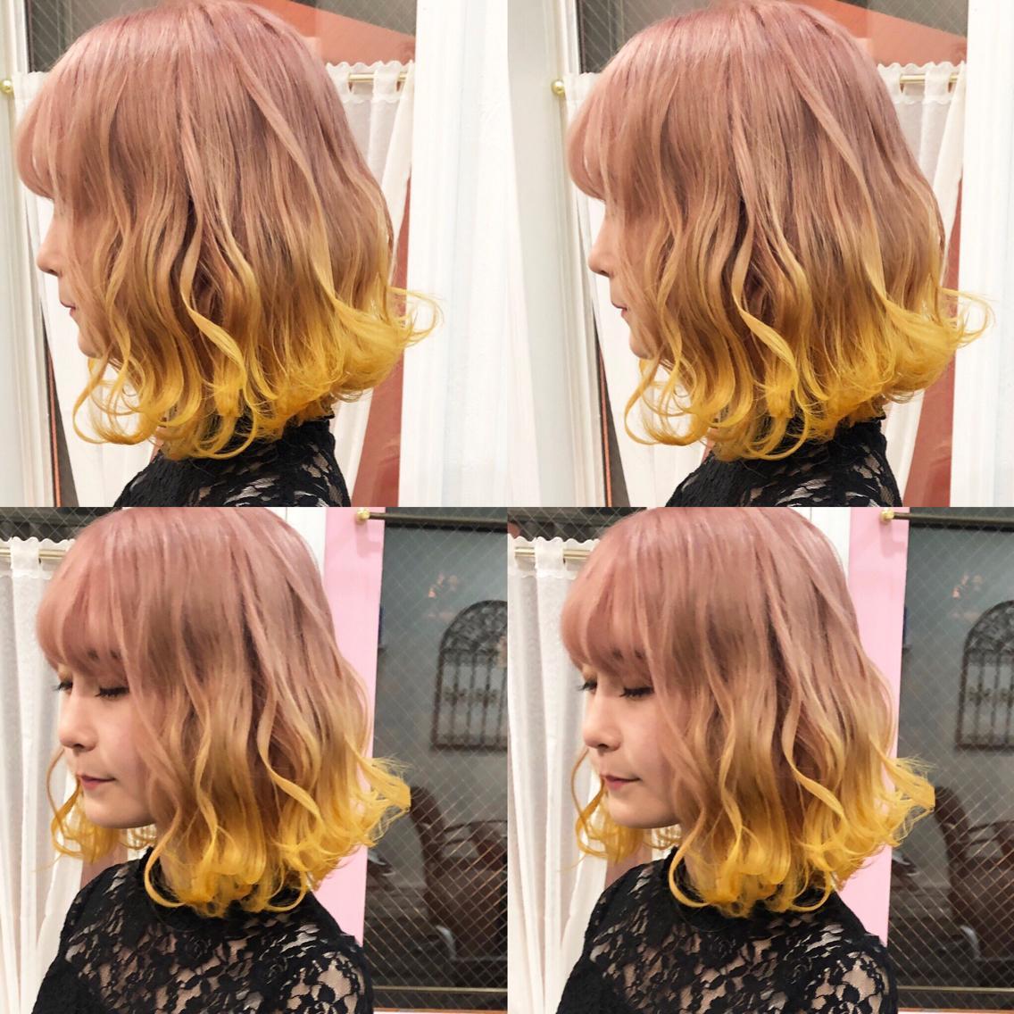 #カラー 🇰🇷イエローの裾カラー🇰🇷  3240〜