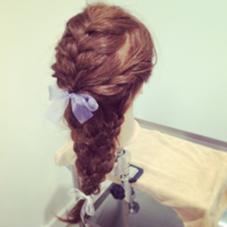 編み込みSTYLE    ゆるい編み込みをメインにした まとめ髪風セット emu salon所属・関ちぐさのスタイル