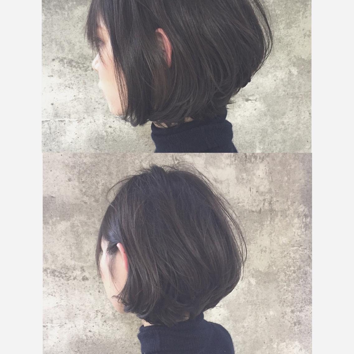 #ショート #カラー グラデーションボブ×ダークアッシュ シャープなヘアスタイルをしっとりふわっとレザーカットで柔らかい質感に。