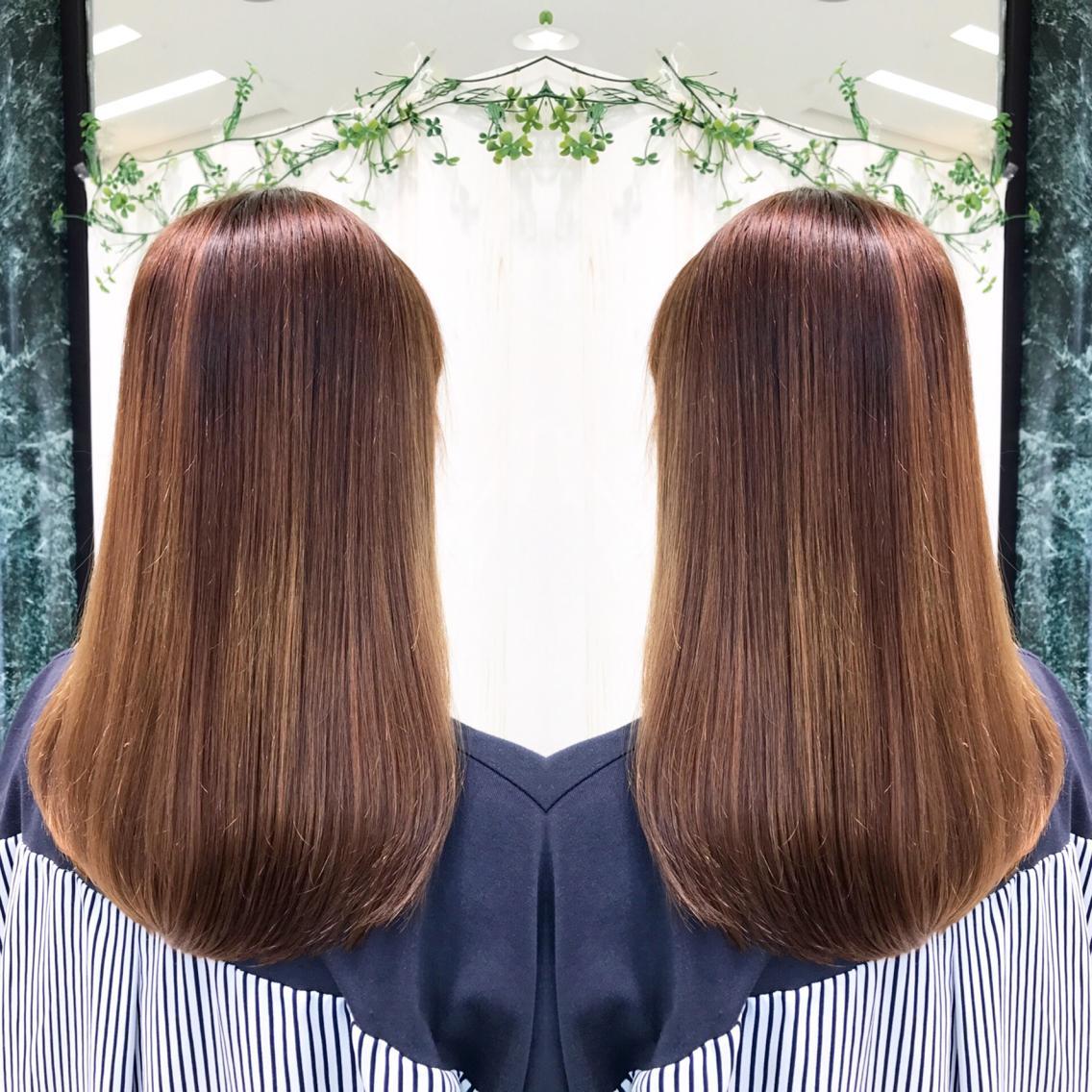 #ミディアム #パーマ ダメージレス❣️プレミアム縮毛矯正でサラツヤな髪へ💇✨