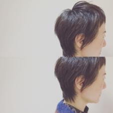 もみあげと襟足とショートバング Heaka AVEDA 伊勢丹新宿店所属・ムラカミショウゴのスタイル
