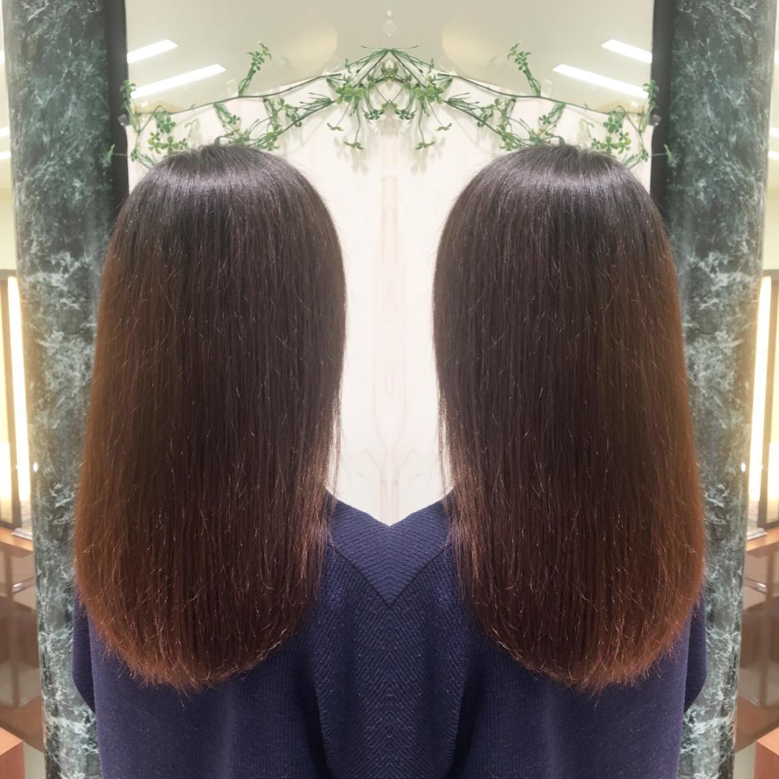 #セミロング #パーマ プレミアム縮毛矯正でサラツヤな髪へ💇✨