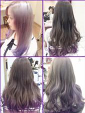 カラー セミロング ミディアム ロング 紫のグラデーションカラー
