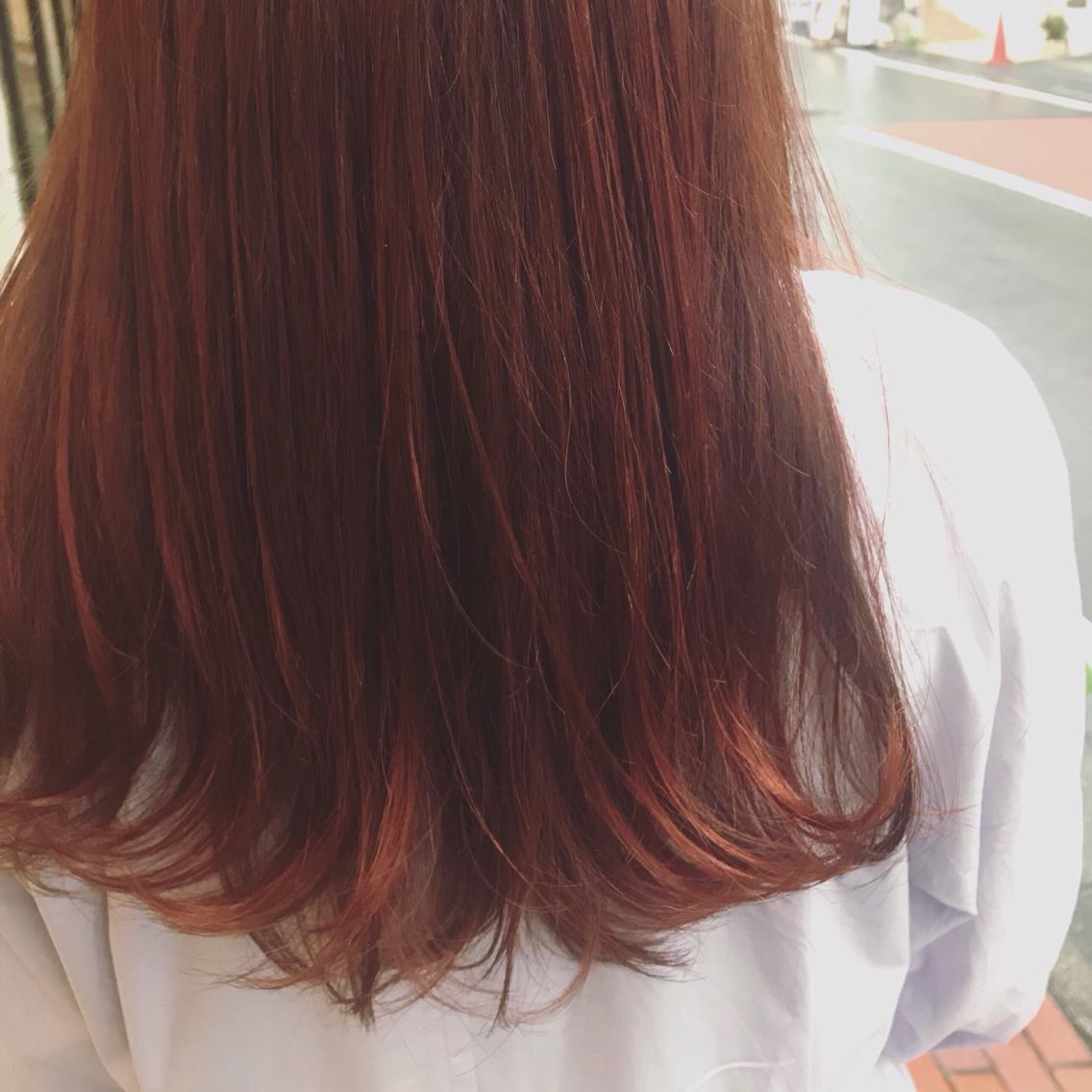 #ロング #カラー 🍊🍊🍊暖色すきです、得意です🍊暖色は積み重ねる程色持ちがよくなるのと、ツヤが出ます🍊🍊🍊