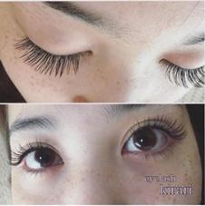 Cカール /太さ0.15 長さ/目頭11㎜。黒目上12㎜。目尻11㎜ . 黒目の上を長くすることで、丸く可愛らしい目元に eyelash salon ☆所属・岩間優子のフォト