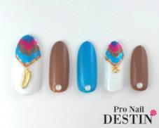 ボヘミアンなカラーの夏らしいピーコックネイルです!  定額Bコース Pro  Nail DESTIN所属・Pro NailDESTINのフォト