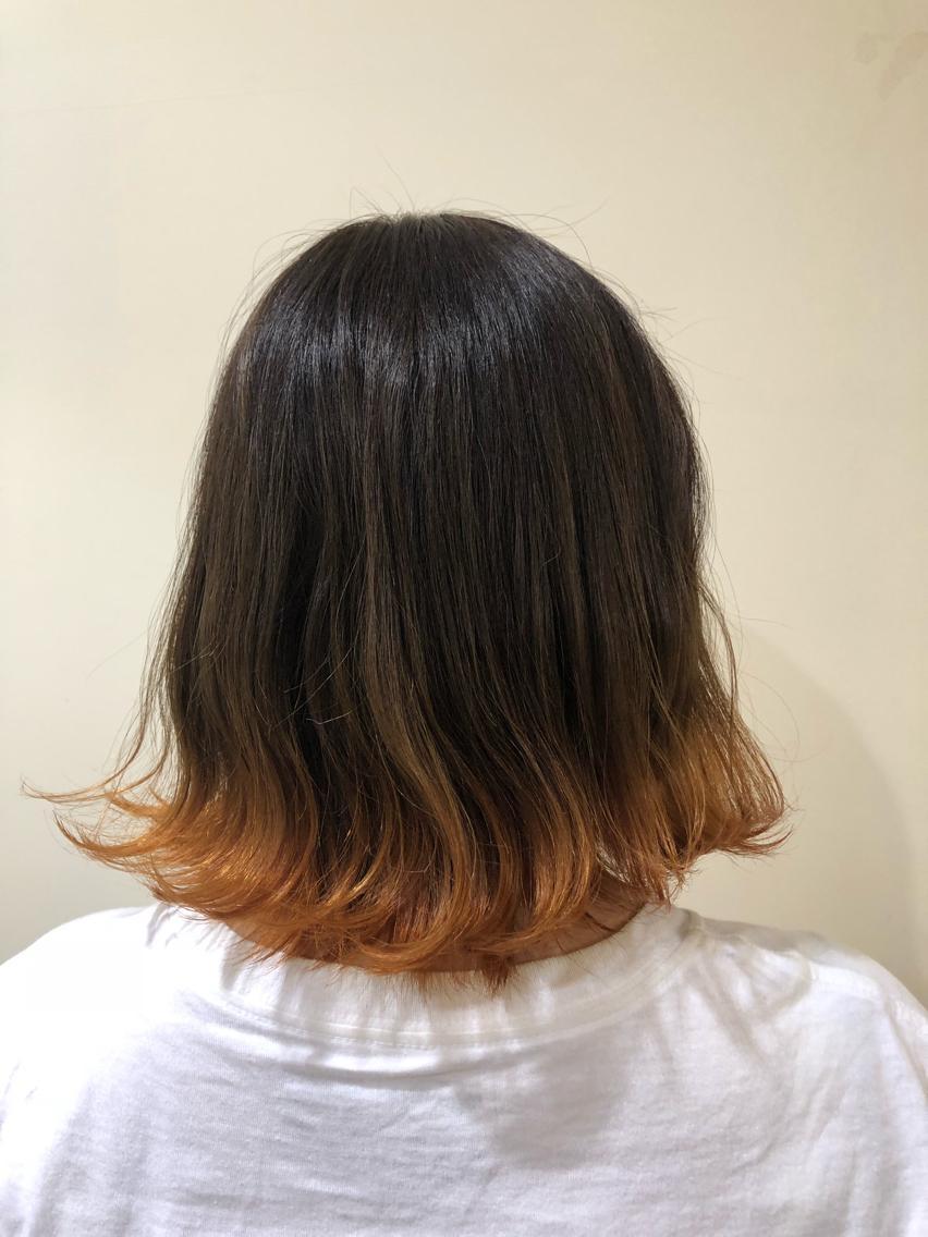 #ミディアム #カラー オレンジ裾カラーで個性派!!