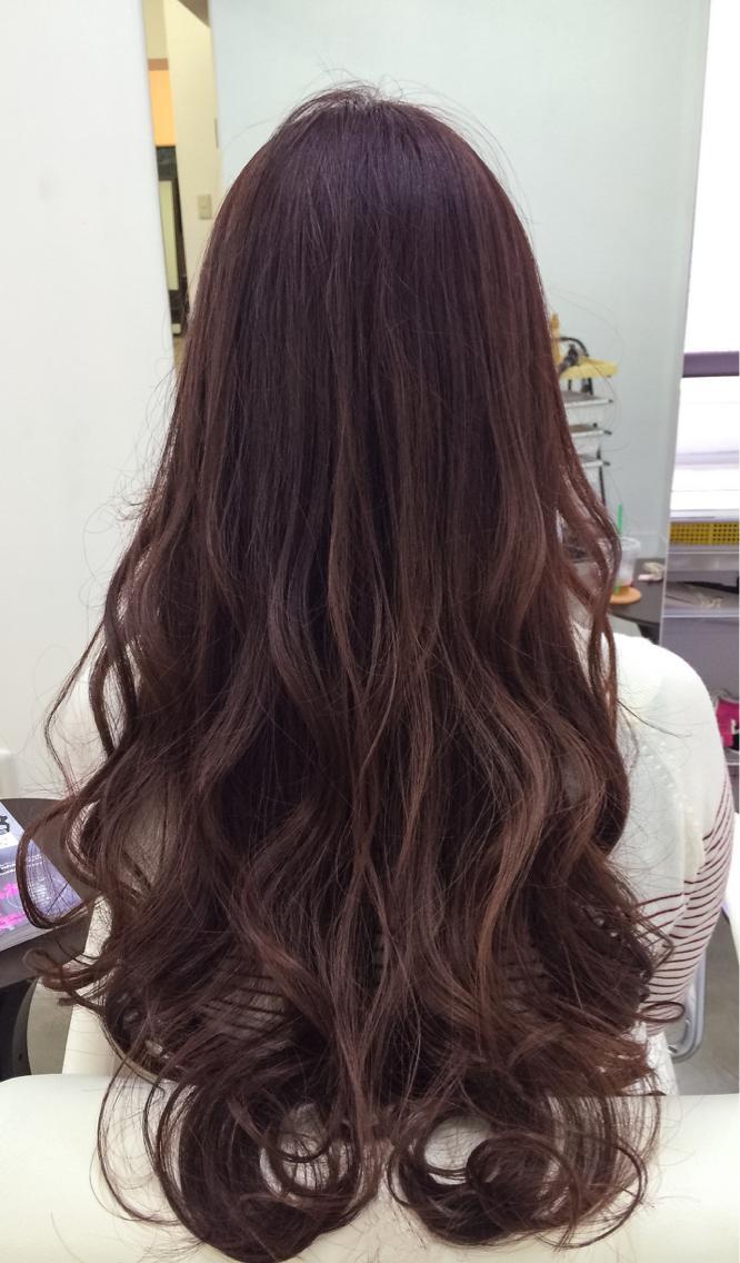 ロング カラー ☆肌艶感もアップなピンクブラウンヘアカラー☆