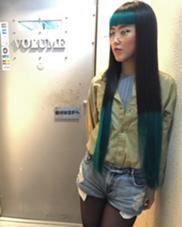 カラー ショート セミロング パーマ ヘアアレンジ ミディアム メンズ ロング エメラルドグリーン