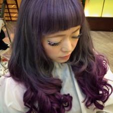 カラー セミロング ロング 紫グラデーションカラー