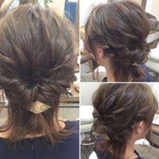 肩レングスのボブでもアレンジスタイル可能です。 ご相談ください! Halo hair design所属・小川淳之のスタイル