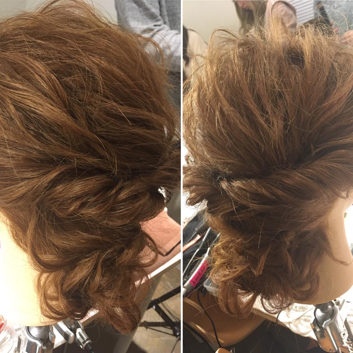 #ミディアム #セミロング #ロング #ヘアアレンジ ルーズなまとめ髪