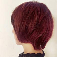ダブルカラーで赤にしました! 発色も綺麗で嬉しい*  ダブルカラー好きなので 皆様是非させてください! La familia 元町Bonita 所属・YamamotoMizukiのスタイル