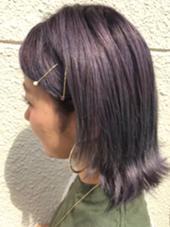 グレーパールヘアカラー・*:..。o○☼*゚・*:..。o○☼*゚・*:..。o○☼*゚ 紫を入れたグレーのこの夏人気カラーです✨✨ たけうちこころのヘアカラーカタログ