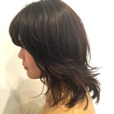 暗めのカラーリングにさらにローライトでおしゃれな暗髪! kokoro hairsalon所属・野村春菜のスタイル