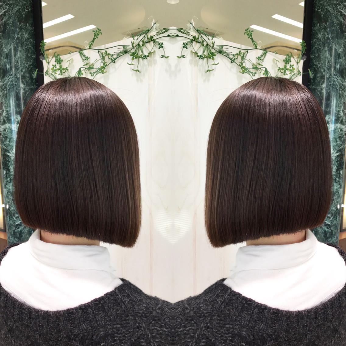#ミディアム #パーマ プレミアム縮毛強制でサラツヤ朝も楽チンな髪質へ…💇✨
