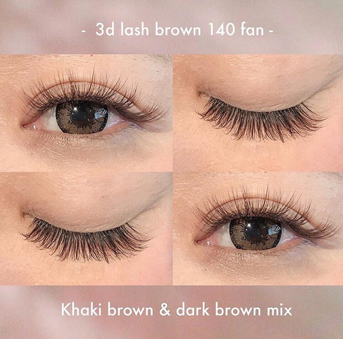#マツエク・マツパ ☑︎C 12 13 J 13 ☑︎3D 140束 ☑︎dark brown & khaki brown  . カーキとダークブラウンの2色を ミックスすると丁度中間くらいの さりげないブラウンになって オススメです♥お試しください☺︎