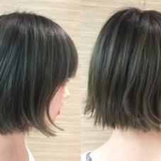 切りっぱなしボブ✂︎ カラーはブリーチをして透明感のあるオリーブ色に 小野澤優香のスタイル