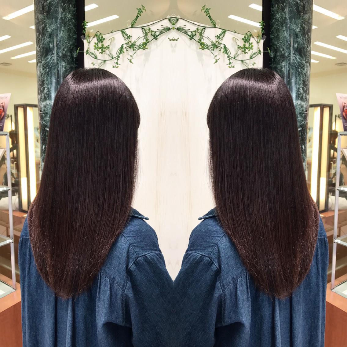 #セミロング #パーマ カット+プレミアム縮毛矯正でサラ艶な髪へ💇✨