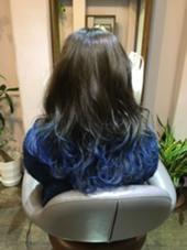 グラデーションBlue color☆☆ ▶︎毛先ポイントブリーチ2回  黒にせずあえてブラウンにして柔らかくして毛先は爽やかなブルーグラデーション! 小川久美子のスタイル
