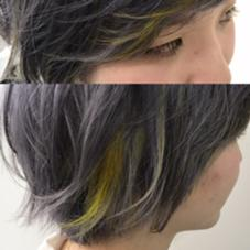 【ライトイエロー】 全体をスモークパープルで染めて ポイントカラーでアクセント カラー専門店CYNDY   color salon 【渋谷】所属・相原慎のスタイル