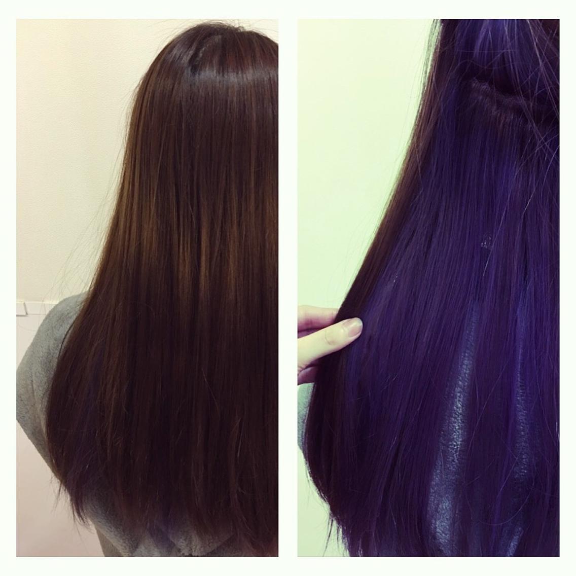 インナーカラー青紫\u0026ダークトーン