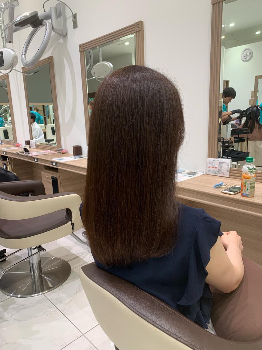 #ミディアム #パーマ まだまだ続く…暑い夏を乗り切ろう!!  縮毛矯正でサラツヤな髪💇♀️✨