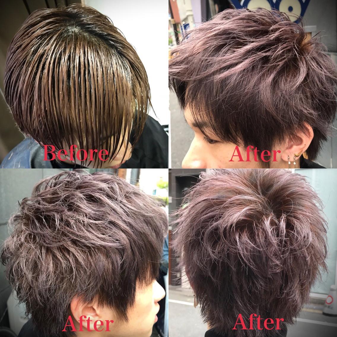 #ショート #カラー #メンズ cut 長くて重かった髪をスッキリと。 前髪は上げても良し、下ろしても良し(^^) イマドキ風な束感スタイルのしやすいカット✂︎ . color 色は元の赤みを活かしたラベンダーアッシュ✨ ブリーチ毛なので透明感⭕️⭕️⭕️