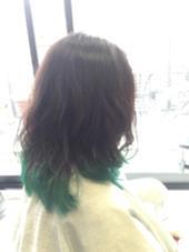 グラデーション グリーン hair&make Seek所属・島貫裕大のスタイル
