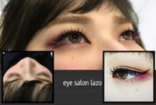 目尻に紫とピンクのカラーエクステをポイントでつけました☆ アイサロン ラソ石井店所属・立花真愛のスタイル