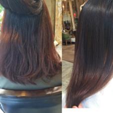 ビフォアアフター☆ブロー無しでの仕上がりです   硬く、乾燥毛でクセは大きめ波状のしっかり。  目指すはナチュラルなストレートで、しっとりと水分を感じられる滑らかな髪☆    いい仕上がりでした(^^) attic所属・atticアティックのスタイル