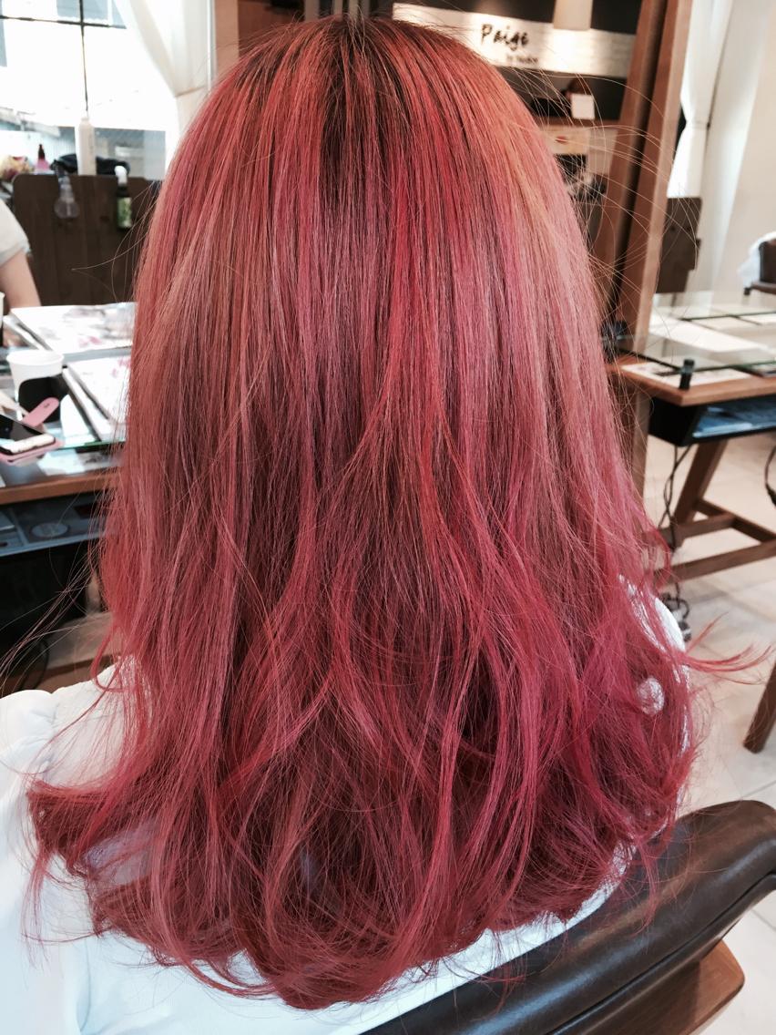 ロング カラー ベイビーピンクのハイトーンカラー!