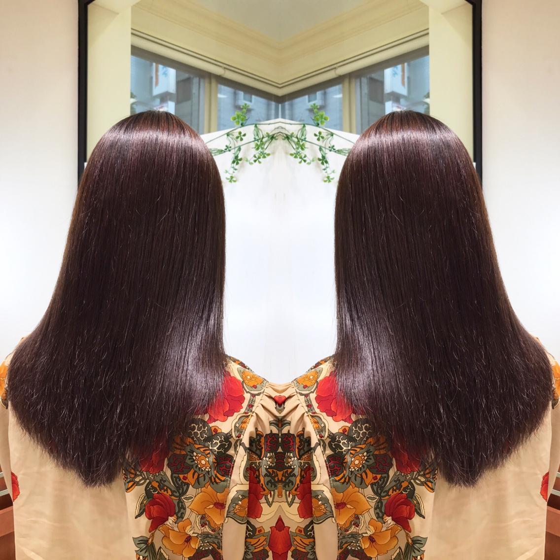 #ミディアム #パーマ 縮毛矯正でサラサラな髪へ💇✨