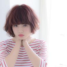 幅広い世代から人気のボブスタイル☆ 暖色系のカラーとの相性ばつぐんです! madokaのスタイル