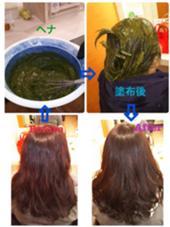 パサパサしていた髪が、ヘナをすることでハリコしを取り戻してスタイリングしやすくなります꒰ ♡´∀`♡ ꒱ アネモステラス豊見城店所属・小嶺真海のスタイル