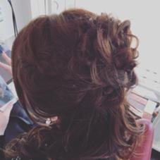 パーティ用に巻きおろしで、可愛くルーズに♪ hair   studio Material所属・石川章司のスタイル