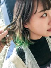 グラデーションからの、 グリーンチラッと⭐️ 一気にイマドキおしゃれガールに(o˘◡˘o) タナカゲンキのヘアカラーカタログ