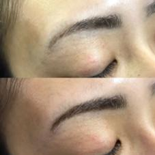 上  ジェルカラー後 下  ジェルカラーの上に眉エクをプラス Sleek brows west  Japan所属・⁂Chikako⁂のスタイル